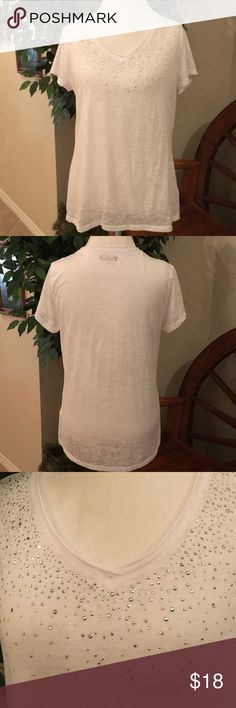CATO White Silver Embellished Burnt Out Top.Size L CATO White Silver and Crystal Embellished Short Sleeve Burnt Out Top. 75% polyester 25% cotton. Size L  Worn only a couple of times. EUC Cato Tops Tees - Long Sleeve