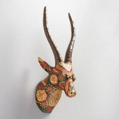 Painted Paper Mache Antelope Bust