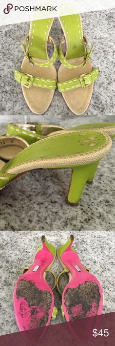 EMANUEL UNGARO STRAPPED SANDAL HEELS Beautiful lime color sandals by UNGARO, used in good condition, size 40 EU fit US9 Emanuel Ungaro Shoes Sandals