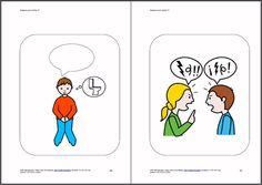"""Imágenes para hablar - Libro 2: basado en la teoría de la mente y partiendo de una imagen, se trata de completar los """"bocadillos"""", bien a nivel oral o escrito, relacionándolo con rutinas, experiencias, situaciones vividas… Speech Therapy, Psychology, Language, Teaching, Comics, Empanadas, Communication Boards, Social Skills, Speech Language Therapy"""