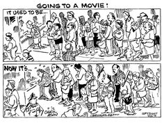 Going to a movie used to be and now it's...  By Chuck Asay #GoComics #PoliticalCartooon #GunControl #Movies