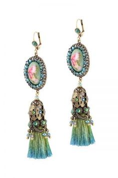 Paris Necklace - Michal Negrin: dip-dyed/ombre thread tassel earrings
