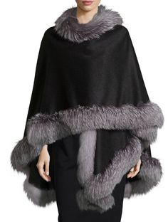 Fox-Fur-Trim Cashmere Cape, Charcoal by Sofia Cashmere at Neiman Marcus. Fur Trimmed Cape, Fur Cape, Cape Coat, Tweed, Looks Style, My Style, Fur Fashion, Womens Fashion, Cashmere Cape