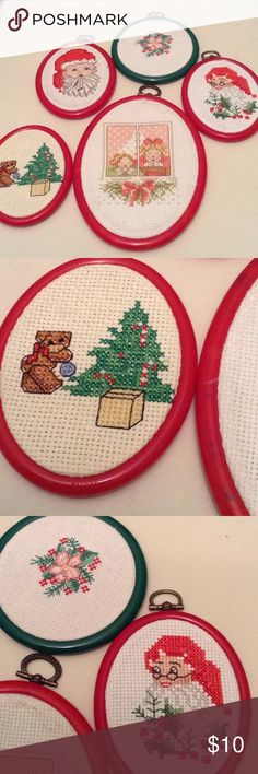 Needlepoint hand made Christmas theme (set of 5) Beautiful set of 5 hand made framed needlepoint in a Christmas theme. Work was done in perfection. Excellent condition. needlepoint Other