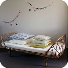 cane daybed L'atelier du Petit Parc - for attic Kids Bedroom Accessories, Kids Bed Frames, Beach House Furniture, Affordable Furniture Stores, Cane Furniture, Shared Bedrooms, Big Girl Rooms, Kids Decor, Home Decor