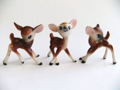 Miniature Deer Figurines Bone China Figurines by VintageByJade, $45.00