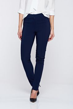 LaDonna darkblue office conical trousers with pockets, women`s trousers, feather shaped pattern, eyelets and zipper fastening, faux back pockets, nonelastic cotton, nonelastic fabric