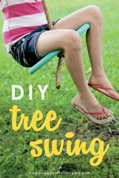 Make this simple DIY tree swing in less than an hour, with just a few basic supplies, and give your kids hours of fun! #budgetfriendlyprojects #diyprojects #homeschool