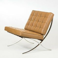 Barcelona Chair Reproduction   Aniline Leather, Brown Modern Chairs