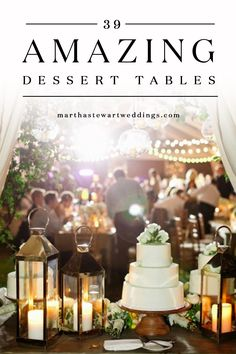 39 Amazing Dessert Tables | Martha Stewart Weddings - There are no rules that say you can only cut into one cake at your reception. Take a cue from these couples and deck out your wedding dessert table with candy, donuts, and more. Your guests (and your sweet tooth!) will thank you.