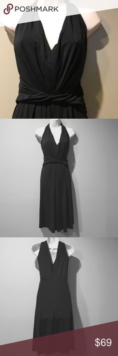 Elie Tahari Black Rayon Blend Ruched Dress, XL In excellent preowned condition, beautifully designed Ellie Tahari. Black slinky dress. Figure flattering, upper bodice is lined, skirt not lined, fabric contains the lasting, so stretchy, side zipper. Size is XL Elie Tahari Dresses