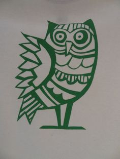 Wise Green Owl Screen Printed Natural by RedFlamingoPrints on Etsy, $25.00