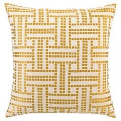 """Hand-embroidered linen pillow with a feather-down fill.Product: Pillow    Construction Material: Linen sham and feather down fill   Color: Marigold  Features:   Designed by D.L RheinEmbroideredInsert included  Made from eco-friendly materials     Dimensions: 20"""" x 20""""     Cleaning and Care: Dry clean only"""