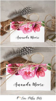 Floral Wedding Place Card with twine #weddingideas #simple #romantic #floral #flowers #placecard #tablecard #centrepieces #wedding