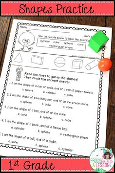Practice activities for 2-D and 3-D shapes including drawing, cut and paste, multiple choice, prompts for using manipulatives, and assessments created with the 1st Grader in mind. Common Core aligned. No fluff, no prep, printer friendly, all at your fingertips! Click to preview this amazing resource!