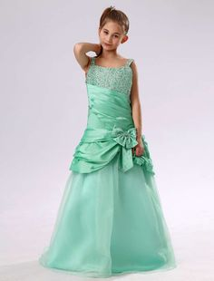 Floor Length Beading Green Dress for Flower Girl