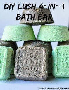 DIY Lush 4-in-1 Bath Bomb, Melt, Bubble, and Salt Scrub Bar Recipe from FrySauceandGrits.com!