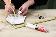 DIY Black Fridge with Brass Pulls - Little Green Notebook Gold Spray Paint, Enamel Paint, Chalk Paint, Studio Kitchenette, Fridge Makeover, Smeg Fridge, Little Green Notebook, Black Appliances, Fairy Houses