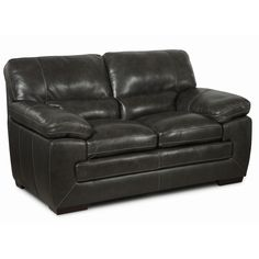 Lyke Home Leather Loveseat (Charcoal), Grey