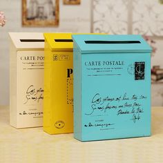 """One of the first things your new homeowners will need is a place to receive all of their """"welcome to the neighborhood"""" coupons. These cool vintage mail boxes will make your hosts stand out and help to brighten up the grayness of the sameness :)"""