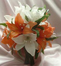 white and orange bouquet diy wedding