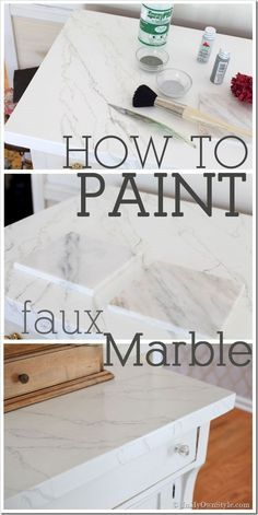 Want the look of Carrara marble on a piece of furniture? How-to-paint-faux-Carrara-Marble-tutorial. Step by step photo tutorial.