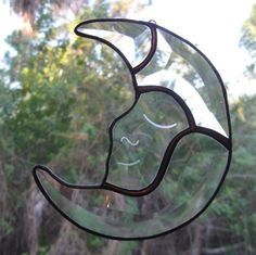 Crescent Moon with Etched Face Beveled Stained Glass Suncatcher