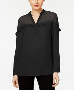 Ny Collection Ruffled Illusion Top - Black XS