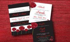 Modern Indian Wedding Invitation Set Roses & Stripes Custom Indian Wedding Invitations, Affordable Wedding Invitations, Wedding Invitation Sets, Roses, Stripes, Handmade Gifts, Modern, Etsy, Kid Craft Gifts