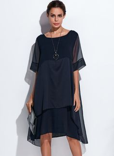 Charming Polyester Solid Half Sleeve Knee-Length Casual Dresses