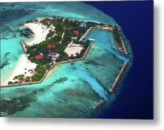 Resort in the Ocean Aerial Journey around Maldives Metal Print by Jenny Rainbow Aerial Photography, Fine Art Photography, Any Images, Wood Print, Maldives, Fine Art America, Around The Worlds, Journey, Ocean