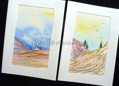 Original watercolour landscape handmade art cards by shelikesthis