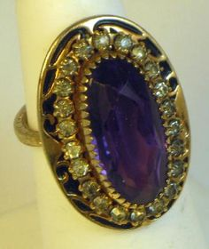 Antique Edwardian Amethyst Glass Enamel and Paste Ring Jewelry Box, Jewlery, Fine Jewelry, Unique Jewelry, Vintage Costume Jewelry, Vintage Jewelry, Edwardian Ring, Unusual Rings, Amethysts
