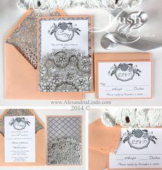 Peach and Silver Invitation