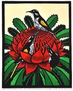Artwork by Leslie van der Sluys, New Holland Honeyeaters and Waratah, Made of linocut Australian Native Flowers, Australian Art, Australian Wildflowers, Linocut Prints, Art Prints, Bird Artwork, Indigenous Art, Art For Art Sake, Naive Art
