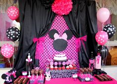 MINNIE MOUSE  Inspired Party Printables- Complete Package Black And Pink Mouse Theme Birthday Collection - Krown Kreations via Etsy