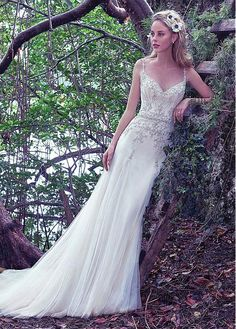 Marvelous Tulle Spaghetti Straps Neckline Sheath Wedding Dresses With Beaded Embroidery