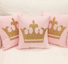 Crown Decorative Throw Pillow Cover - White, Pink, Mint, Coral, Black/White Stripe, Turquoise Cover - Gold or Silver Glitter Crown by pearlandjane on Etsy https://www.etsy.com/listing/243967084/crown-decorative-throw-pillow-cover