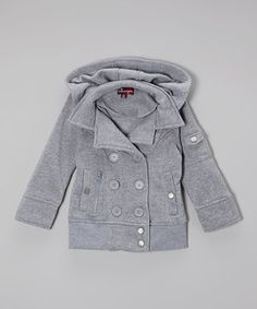 Another great find on #zulily! Heather Gray Double-Breasted Hooded Jacket - Toddler & Girls by Chillipop #zulilyfinds