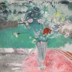 Winifred Nicholson: Allwoodii Pinks in a Glass Vase (1930) Oil and sand on canvas 61 x 61 cm