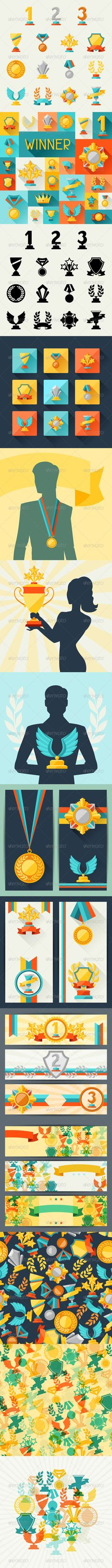 Trophy and Awards in Flat Design Style. - Sports/Activity Conceptual