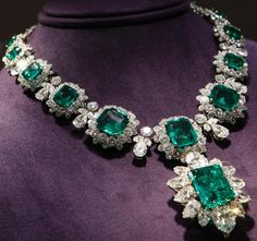 emerald and diamond Bulgari necklace and pendant worn by Elizabeth Taylor. Priced between $2.5 million and $3.5 million, it was a gift fr...