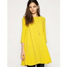 Yellow Candy Color Seventh Sleeve Princess Dress
