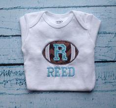 Personalized Football Onesie - Baby Onesie - monogrammed onesie - baby gift set