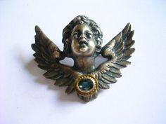 Exclusive Edle Jugendstil Brosche Engel Silber vergoldete Fassung mit Saphir, sold for EUR 69,99