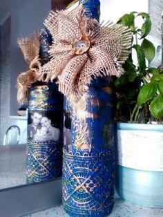 Diy burlap flower bottle