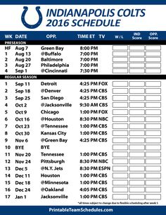 Indianapolis Colts Football Schedule. Print Schedule Here - http://printableteamschedules.com/NFL/indianapoliscoltsschedule.php
