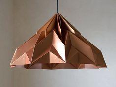 MAKE A WISH origami lampshade pendant satin-copper. via Etsy. Origami Lampshade, Diy Lampe, Deco Luminaire, Deco Originale, Lamp Socket, Paper Folding, Origami Folding, Origami Paper, Light Fittings