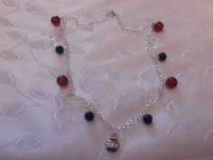 Handmade Silver Necklace with Red and Blue by CustomCraftJewelry