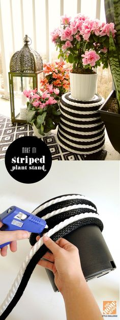Wrap an inexpensive plastic pot with black and white rope to create a striped plant stand - genius! |  From The Home Depot Patio Style Challenge and Mandy of Fabric Paper Glue